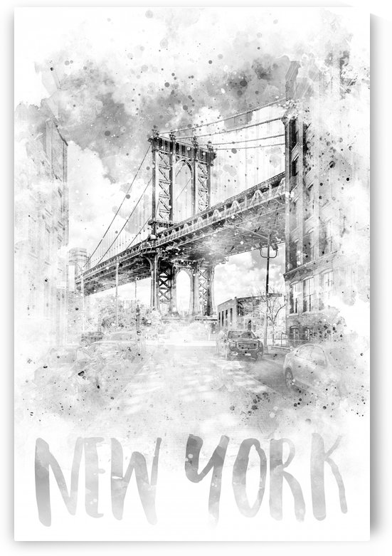 Monochrome Art NYC Manhattan Bridge | watercolor by Melanie Viola