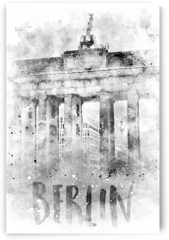 Monochrome Art BERLIN Brandenburg Gate | Watercolor by Melanie Viola