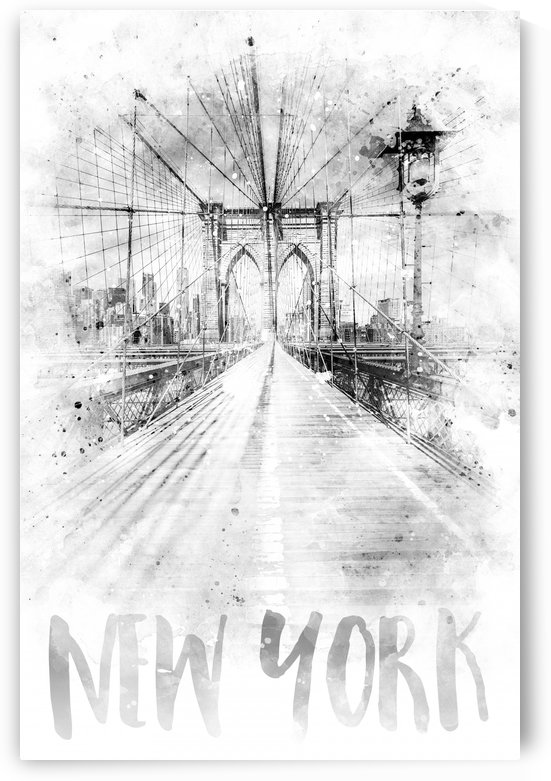 Monochrome Art NYC Brooklyn Bridge | watercolor by Melanie Viola