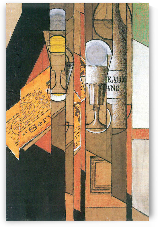 Glasses, newspaper and wine bottle by Juan Gris by Juan Gris