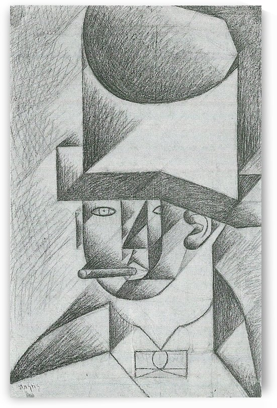 Head of a man with cigar by Juan Gris by Juan Gris