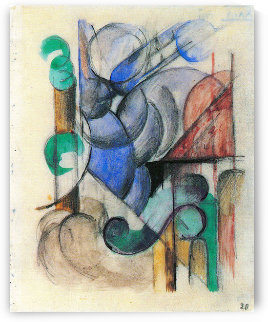 House in abstract landscape by Franz Marc by Franz Marc