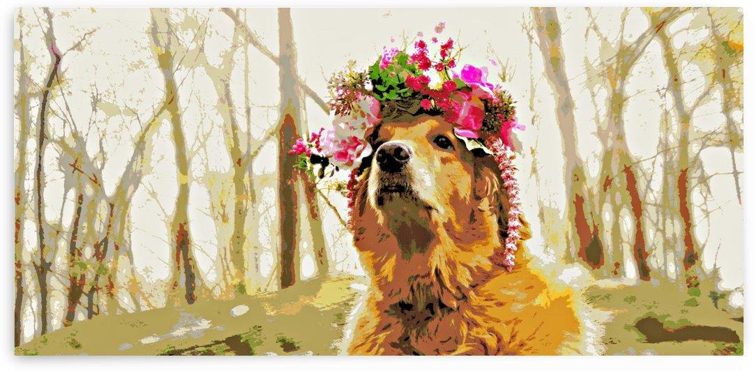 Golden Retriever Flower Crown In Forest by Mercy Ann Grace