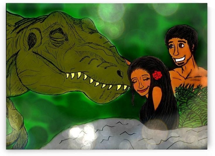 Adam & Eve With T-Rex In Eden by Mercy Ann Grace