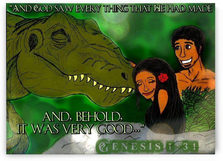 Adam & Eve With T-Rex In Eden Genesis 1:31 by Mercy Ann Grace