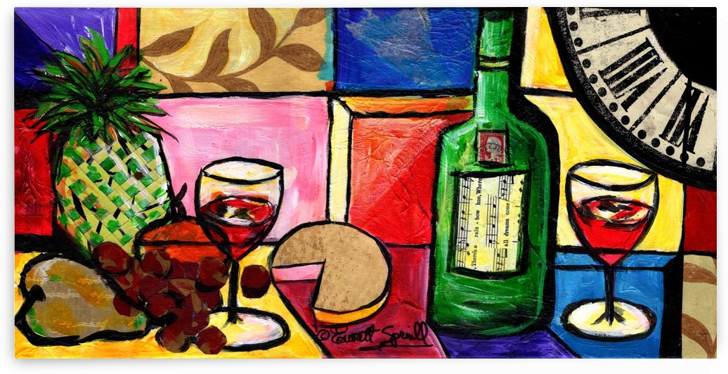 Still Life Fruit and Wine by Everett Spruill