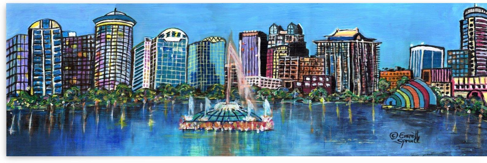 Lake Eola Fountain and Orlando Skyline by Everett Spruill