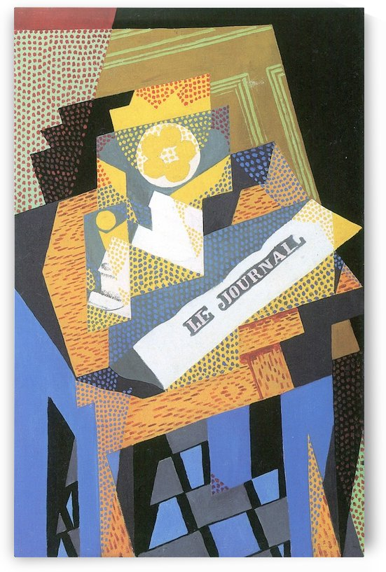 Newspapers and fruit bowl by Juan Gris by Juan Gris