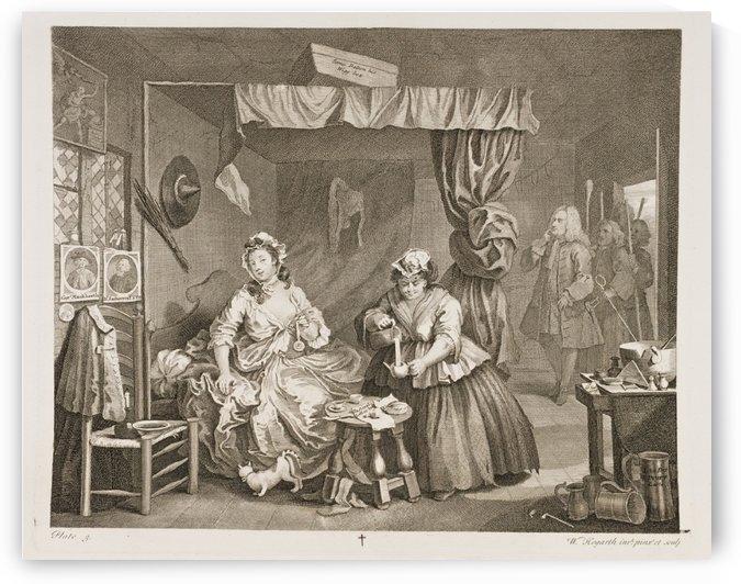Moll, in debt, is prosecuted by Sir John Gonson by William Hogarth