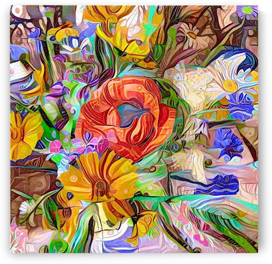 Colorful meadow bouquet Abstract  by Gabriella David
