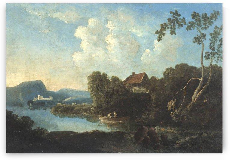 Two men in a boat by Richard Wilson