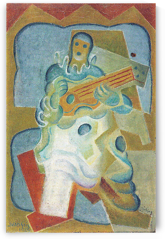 Pierrot, playing guitar by Juan Gris by Juan Gris