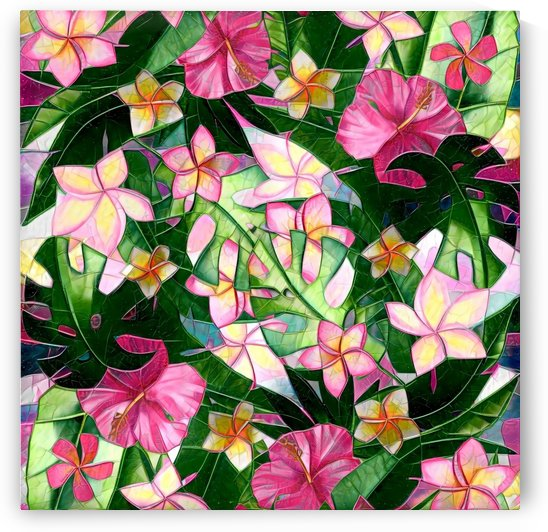 Tropical Floral Abstract Mosaic Optic by Gabriella David