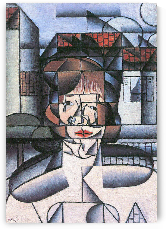 Portrait of Madame Germaine Raynal -1- by Juan Gris by Juan Gris