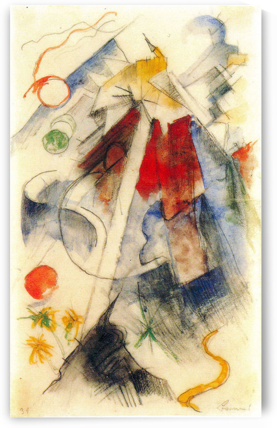 Sketch of the Brenner road -1- by Franz Marc by Franz Marc