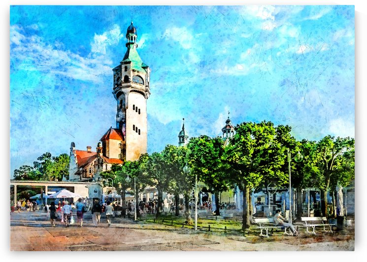 Sopot city watercolor art  by Justyna Jaszke