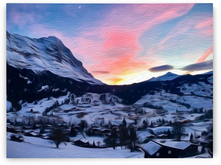 Grindelwald sunset oil painting style by By the C Media