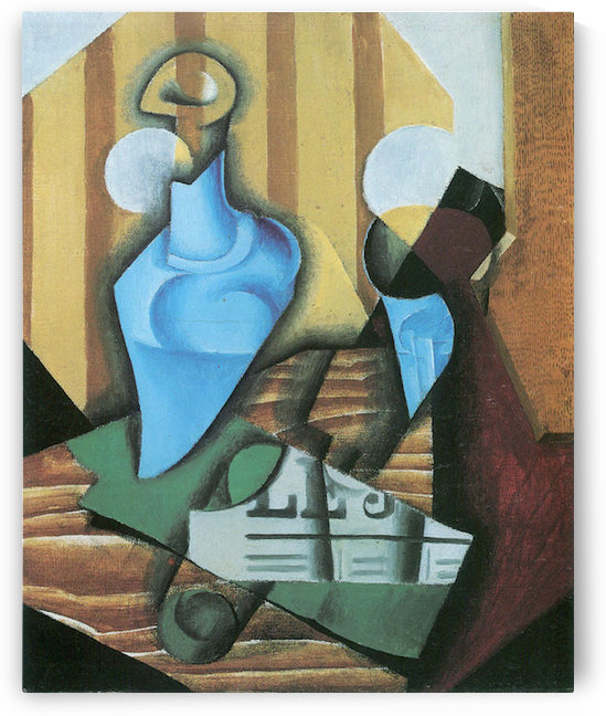 Still Life with bottle and glass by Juan Gris by Juan Gris