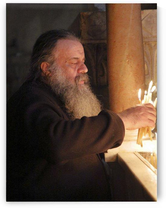 Priest At Holy Sepulchre by Eliot Scher