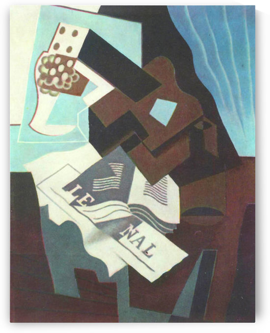 Still Life with guitar, book and newspaper  by Juan Gris by Juan Gris