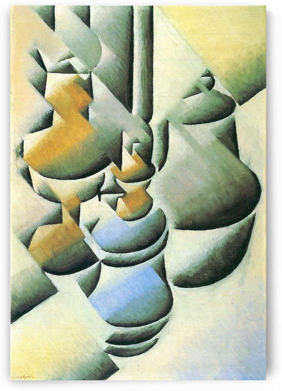 Still Life with oil lamp by Juan Gris by Juan Gris