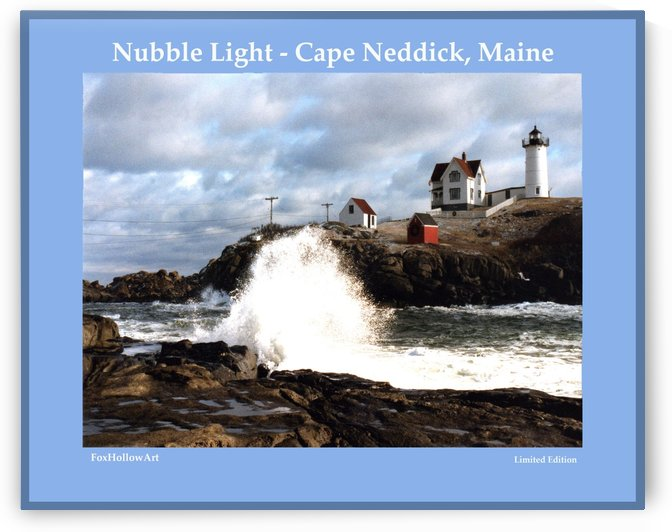 Nubble Light - Cape Neddick - York - Maine High Surf by FoxHollowArt