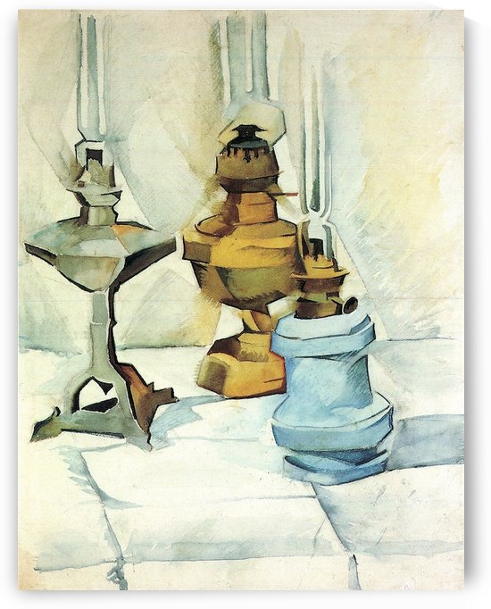 Still life with three lamps by Juan Gris by Juan Gris