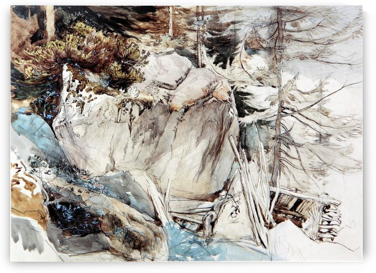 Mountain Rock and Alpine Rose by John Ruskin