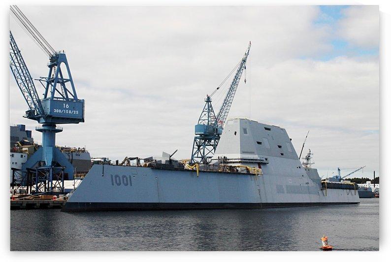 Battleship 1001 At Bath Maine Shipyard by FoxHollowArt