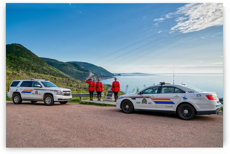 RCMP with cruisers at French Mountain Monument by Michel Soucy