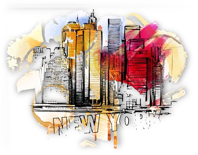 new york city skyline vector illustration by Shamudy