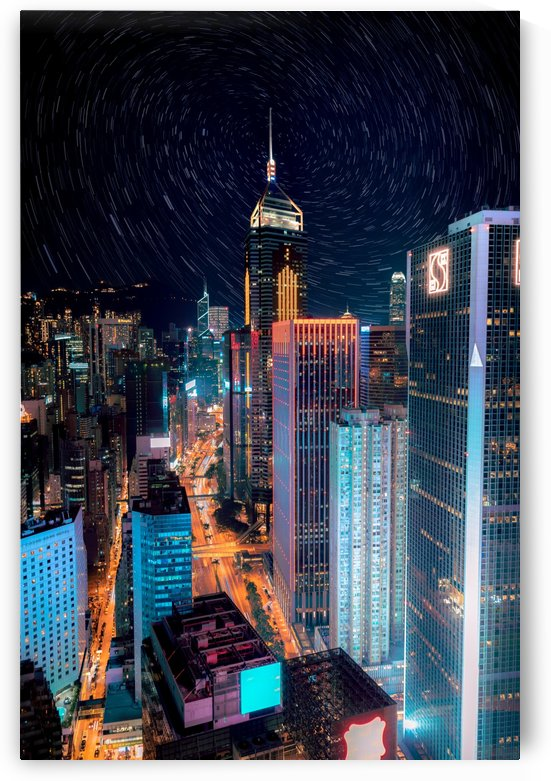 high rise buildings with lights by Shamudy