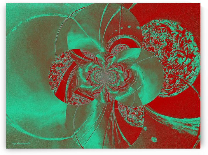 Emerald and Red Circular Patterns by Faye Anastasopoulou
