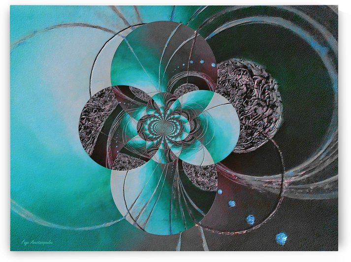 Black And Teal Circular Patterns by Faye Anastasopoulou