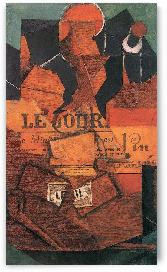 Tobacco, newspaper and wine bottle by Juan Gris by Juan Gris