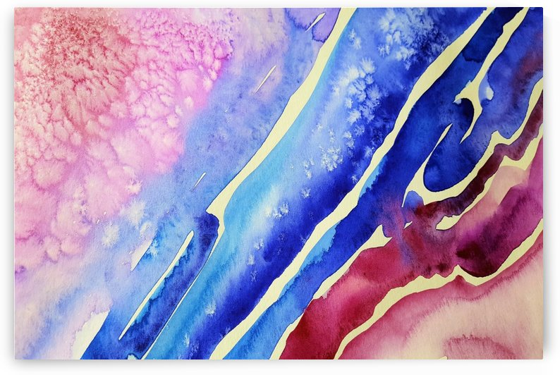painting abstract blue pink spots by Shamudy
