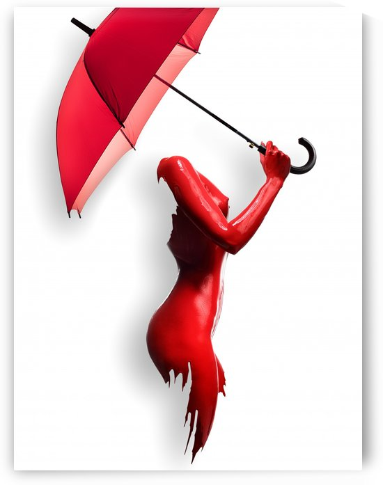 Red Painted Body with Umbrella by Johan Swanepoel