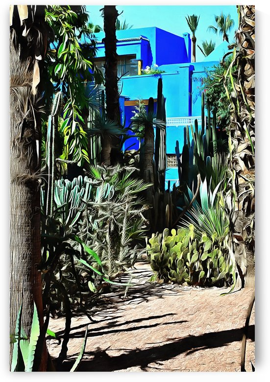 Giant Cacti Planting With Cubist Villa by Dorothy Berry-Lound