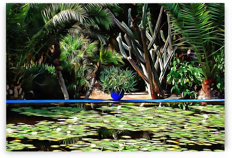 Lily Pond With Blue Plant Pot by Dorothy Berry-Lound