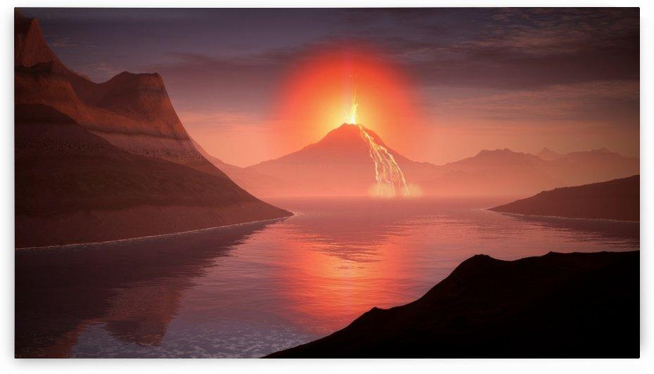 volcano lava landscape glow lake by Shamudy