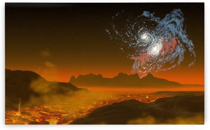 galaxy galaxies bump together lava by Shamudy
