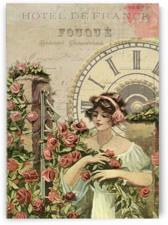 french vintage girl roses clock by Shamudy