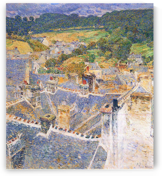 Roofs, Pont-Aven by Hassam by Hassam