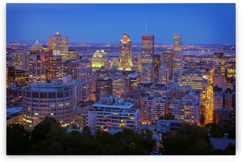 Canadian city skyline at blue hour Montreal Quebec Canada by Atelier Knox