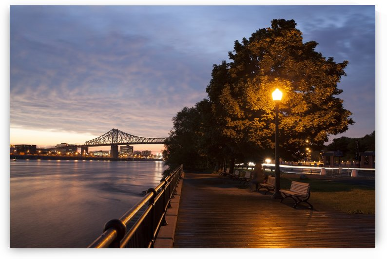 Docks at Ile ste helene at blue hour Montreal Quebec Canada by Atelier Knox