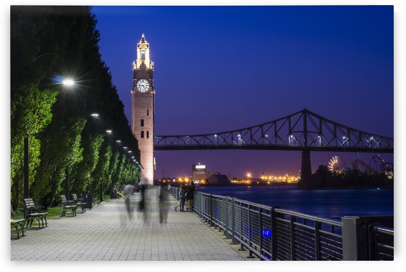 Old port tower at night in montreal Quebec Canada by Atelier Knox
