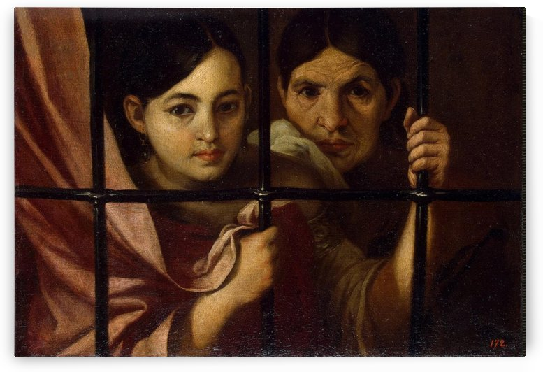 Women behind a grile by Bartolome Esteban Murillo