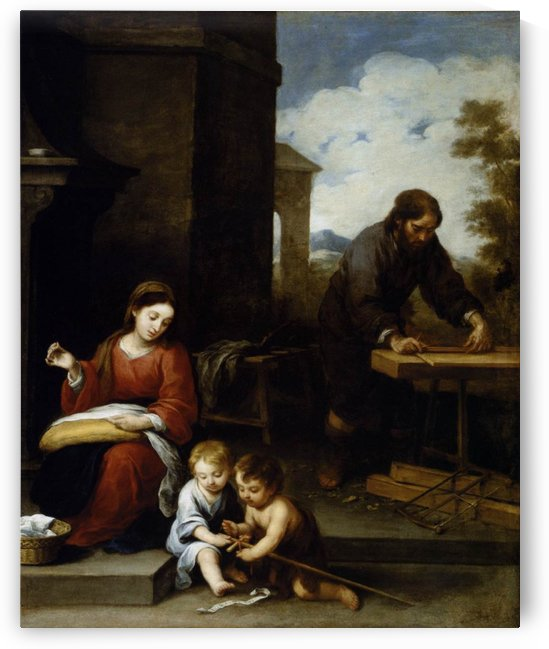The holy family with the infant and Saint John by Bartolome Esteban Murillo
