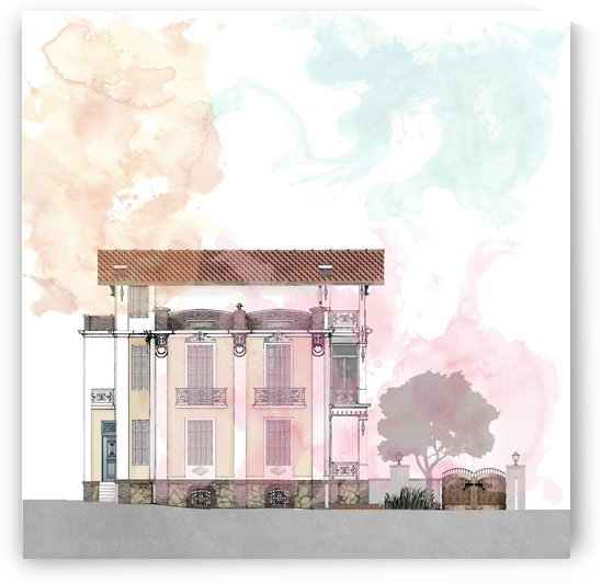 artprint neoclassic house 8x8 inches _final by ANASTASIA SKARLATOUDI