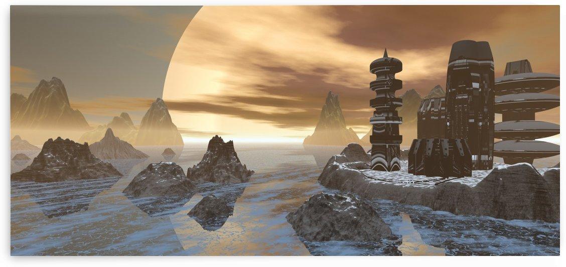 planet moon rocks city fiction by Shamudy